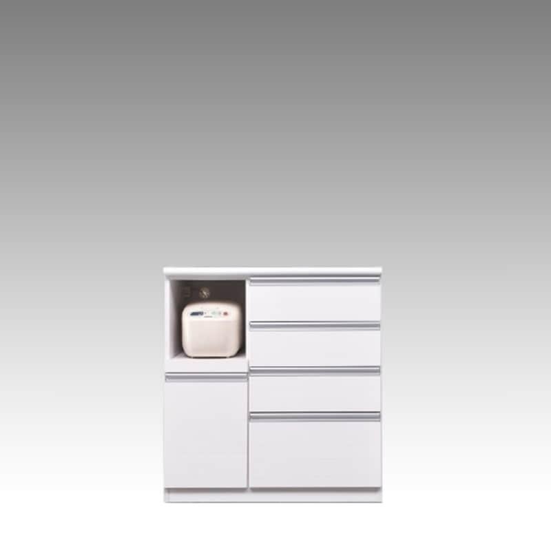 ハイカウンター ブルート ハイタイプ 90左 (WH柾目):シマホのコスパに優れる食器棚 小物類はイメージです