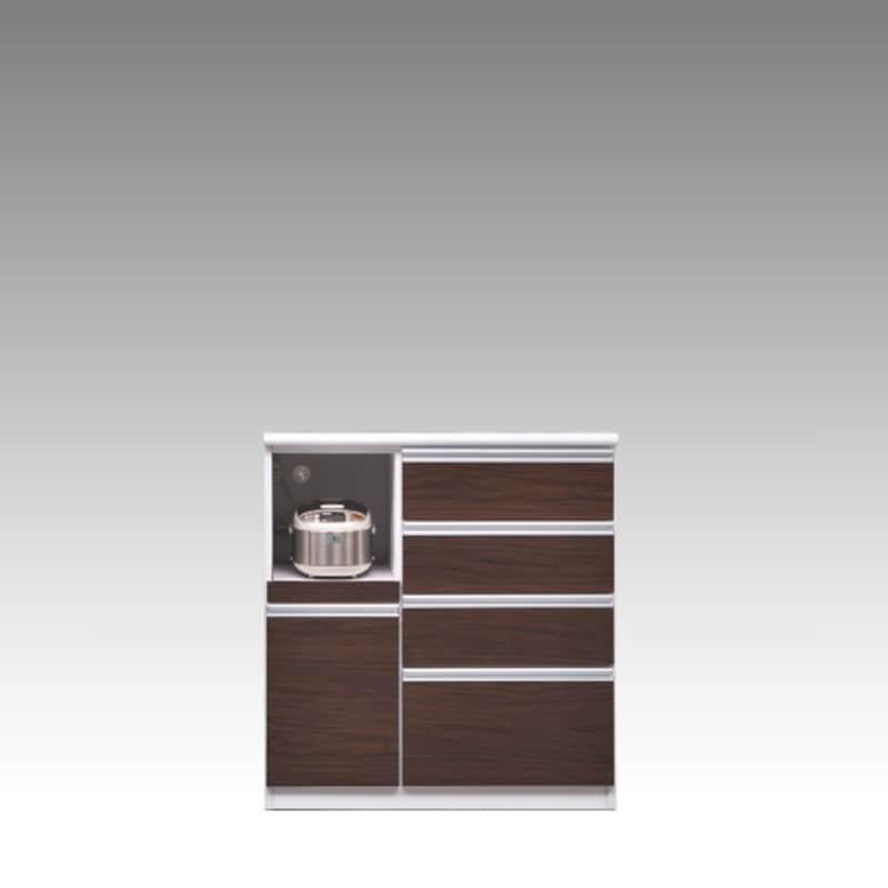 ハイカウンター ブルート ハイタイプ 90左 (OBR):シマホのコスパに優れる食器棚 小物類はイメージです