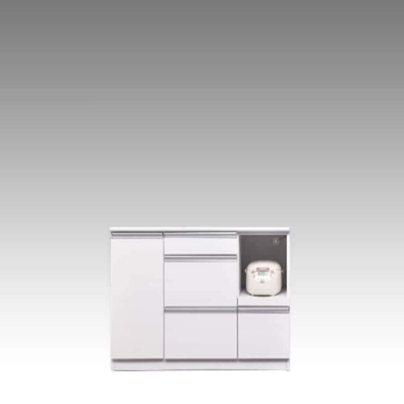 カウンター ブルート ロータイプ 120右 (WH柾目):シマホのコスパに優れる食器棚 小物類はイメージです