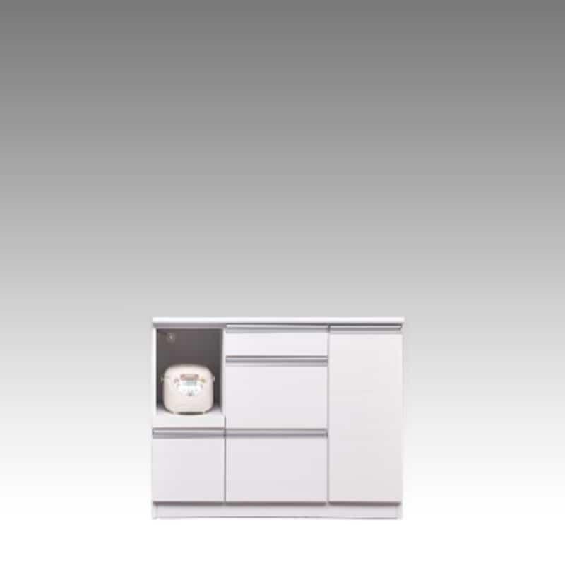 カウンター ブルート ロータイプ 120左指定 (WH柾目):シマホのコスパに優れる食器棚 小物類はイメージです
