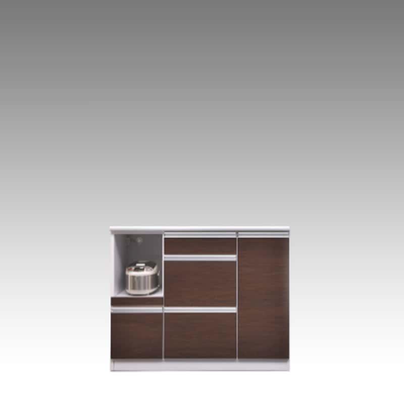 カウンター ブルート ロータイプ 120左指定 (OBR):シマホのコスパに優れる食器棚 小物類はイメージです