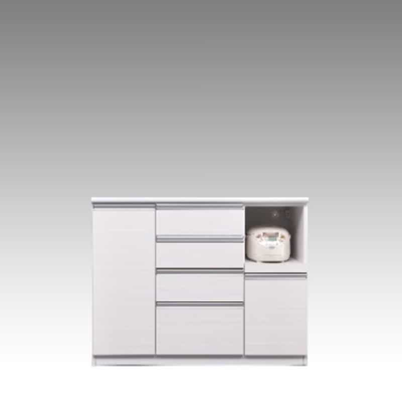 ハイカウンター ブルート ハイタイプ 120右指定 (WH柾目):シマホのコスパに優れる食器棚 小物類はイメージです