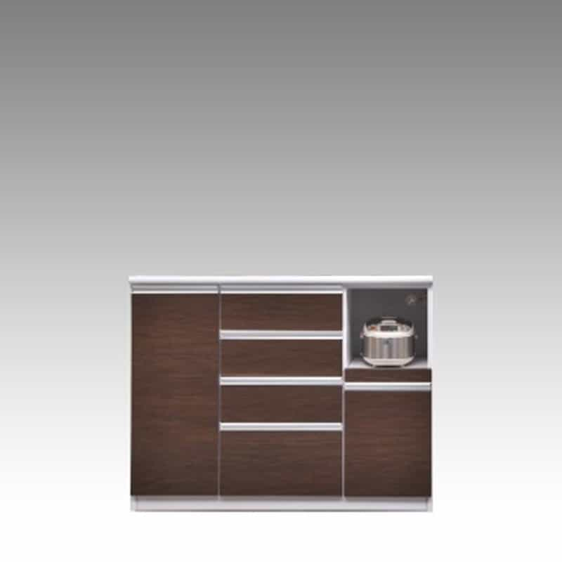ハイカウンター ブルート ハイタイプ 120右指定 (OBR):シマホのコスパに優れる食器棚 小物類はイメージです