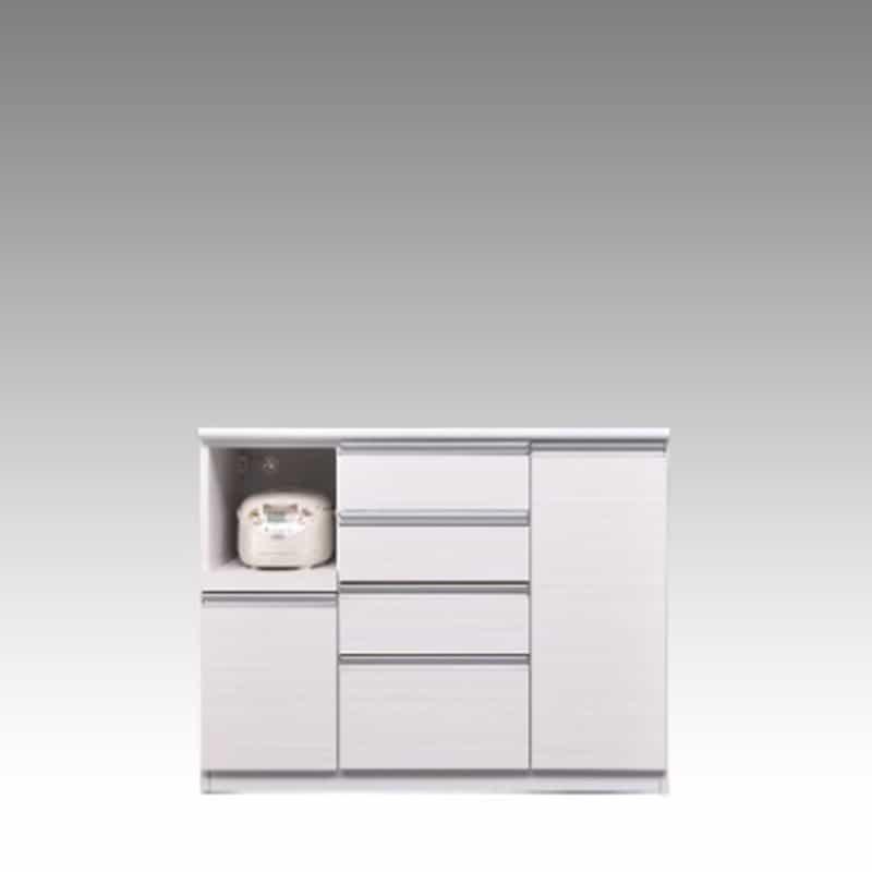 ハイカウンター ブルート ハイタイプ 120左 (WH柾目):シマホのコスパに優れる食器棚 小物類はイメージです