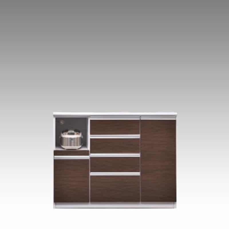 ハイカウンター ブルート ハイタイプ 120左 (OBR):シマホのコスパに優れる食器棚 小物類はイメージです