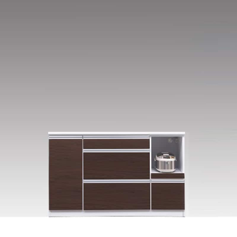 カウンター ブルート ロータイプ 140右 (OBR):シマホのコスパに優れる食器棚 小物類はイメージです