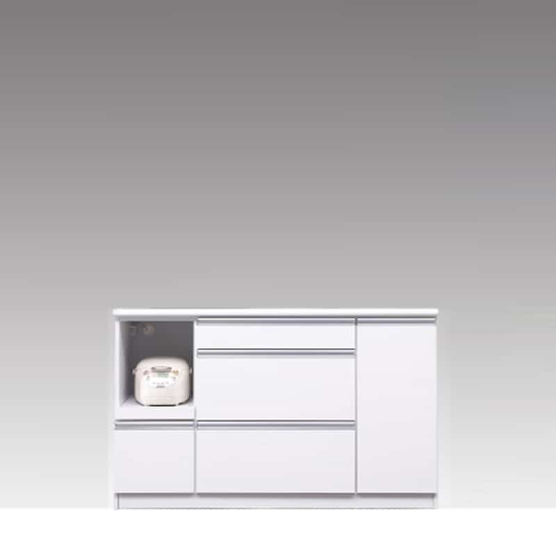 カウンター ブルート ロータイプ 140左指定 (WH柾目):シマホのコスパに優れる食器棚 小物類はイメージです