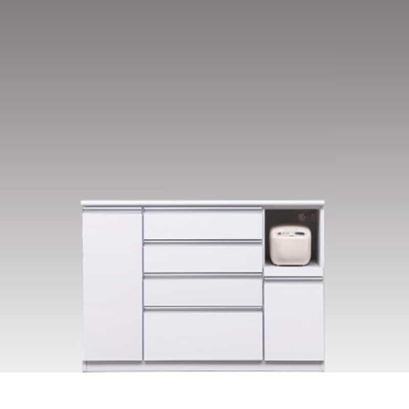 ハイカウンター ブルート ハイタイプ 140右指定 (WH柾目):シマホのコスパに優れる食器棚 小物類はイメージです