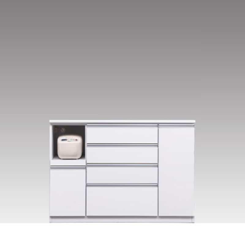 ハイカウンター ブルート ハイタイプ 140左 (WH柾目):シマホのコスパに優れる食器棚 小物類はイメージです