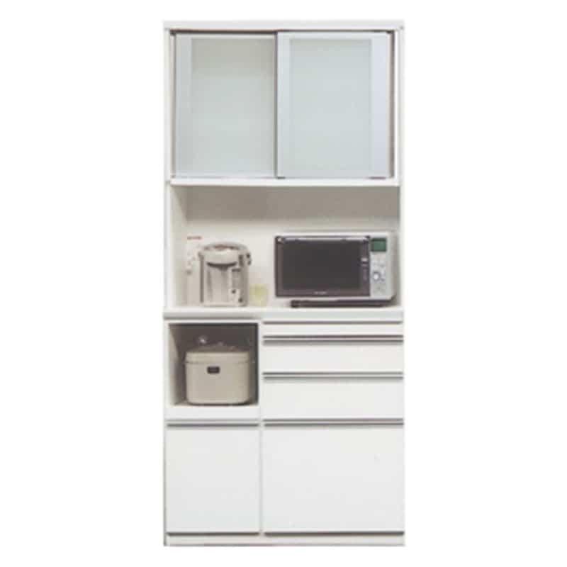 食器棚 ライズ 90レンジ WH:インテリアに合わせてお好みのカラーをチョイス 小物類はイメージです