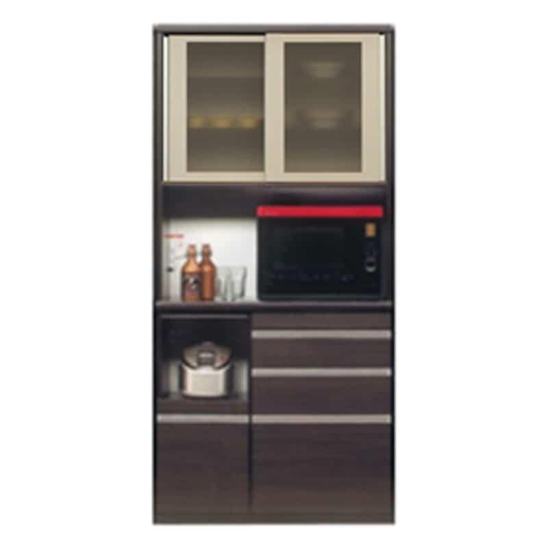 食器棚 ライズ 90レンジ DBR:インテリアに合わせてお好みのカラーをチョイス 小物類はイメージです