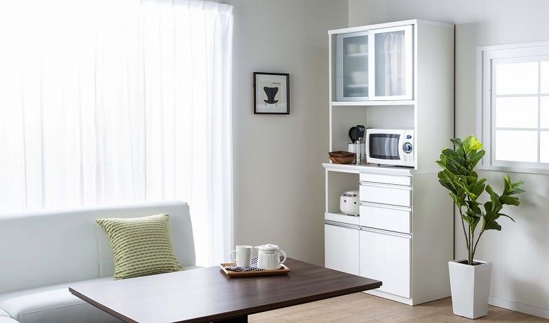 食器棚 ライズ 90大引き戸 WH:インテリアに合わせてお好みのカラーをチョイス
