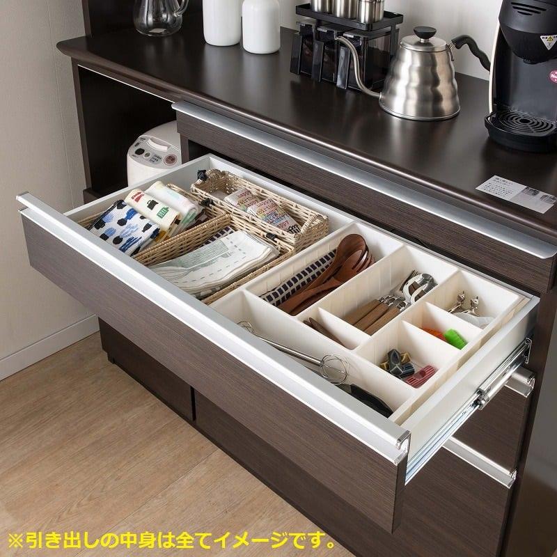 食器棚 ライズ 90大引き戸 WH:引出上段はソフトクロージング機能付き
