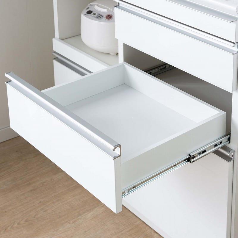 食器棚 ライズ 90大引き戸 WH:出し入れ簡単なフルスライドレール仕様