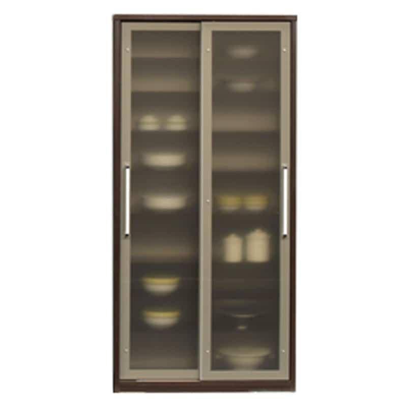 食器棚 ライズ 90大引き戸 DBR:インテリアに合わせてお好みのカラーをチョイス 小物類はイメージです