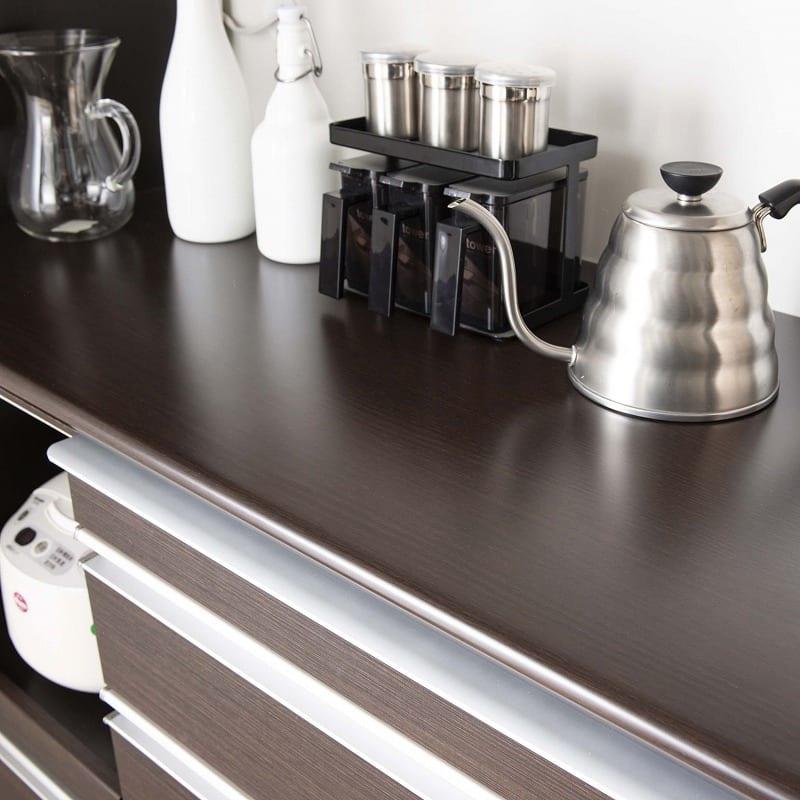 食器棚 ライズ 90大引き戸 DBR:キズに強いメラミンカウンター