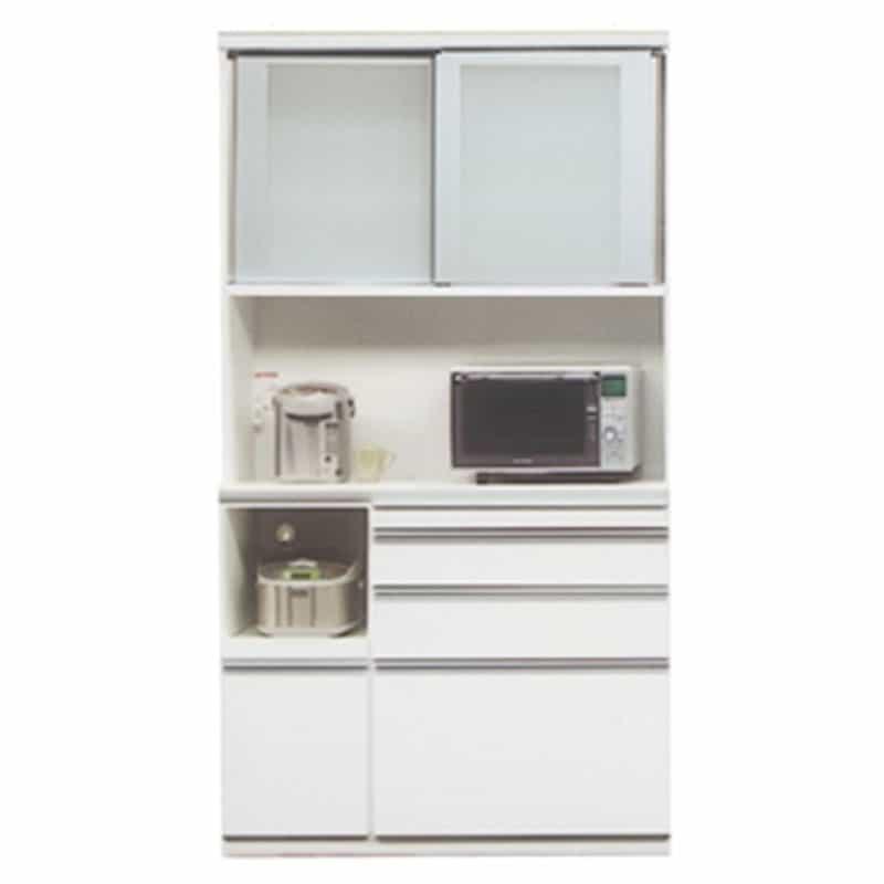 食器棚 ライズ 120レンジ WH:インテリアに合わせてお好みのカラーをチョイス 小物類はイメージです