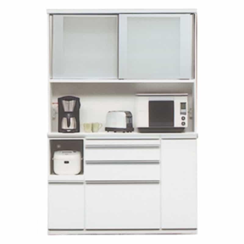 食器棚 ライズ 140レンジ WH:インテリアに合わせてお好みのカラーをチョイス 小物類はイメージです