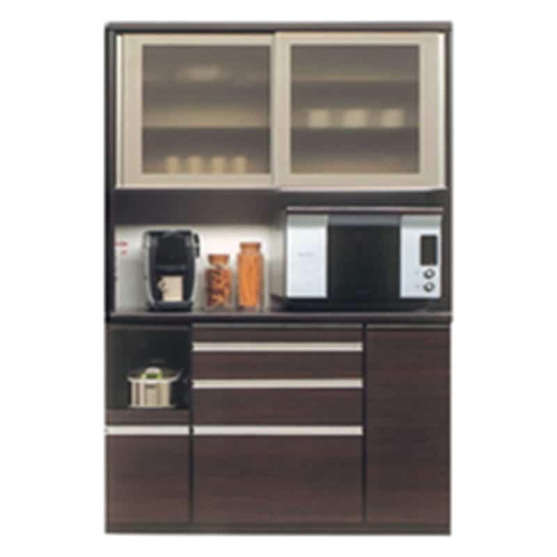 食器棚 ライズ 140レンジ DBR:インテリアに合わせてお好みのカラーをチョイス 小物類はイメージです