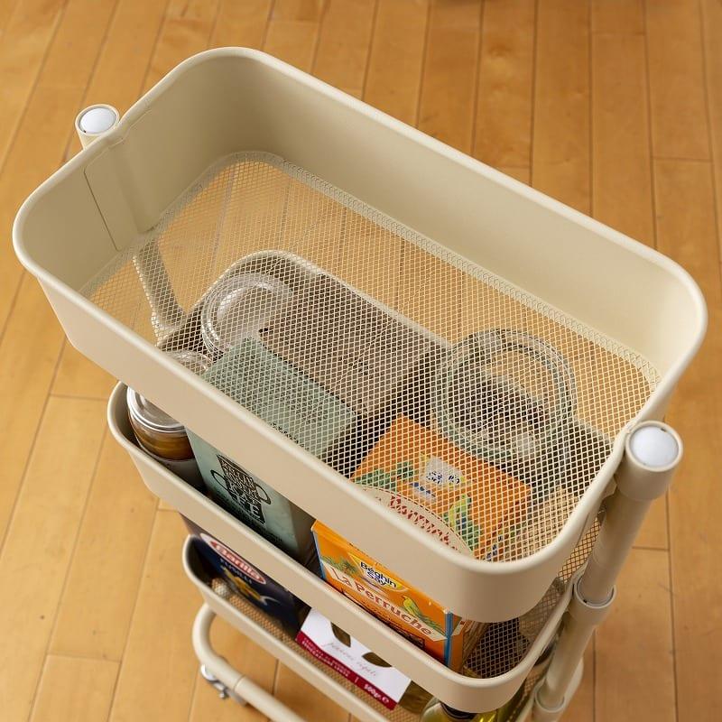 キッチンワゴン バスケットトローリースリム LSBT−3(WH) ホワイト:メッシュ仕様お手入れ簡単