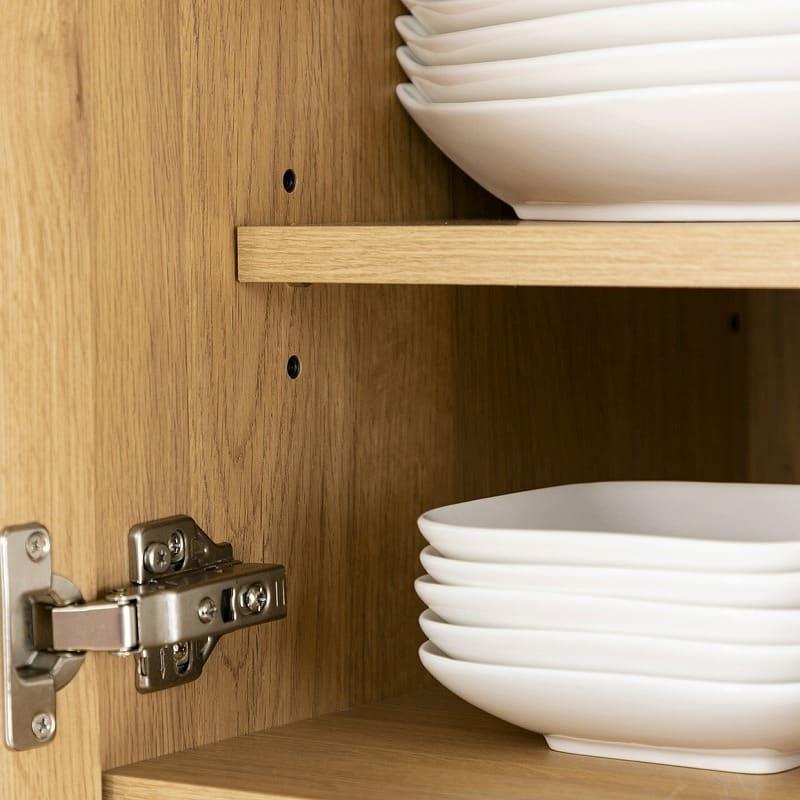 食器棚 紗々 60-OP(WN):食器棚の高さ調整が自由