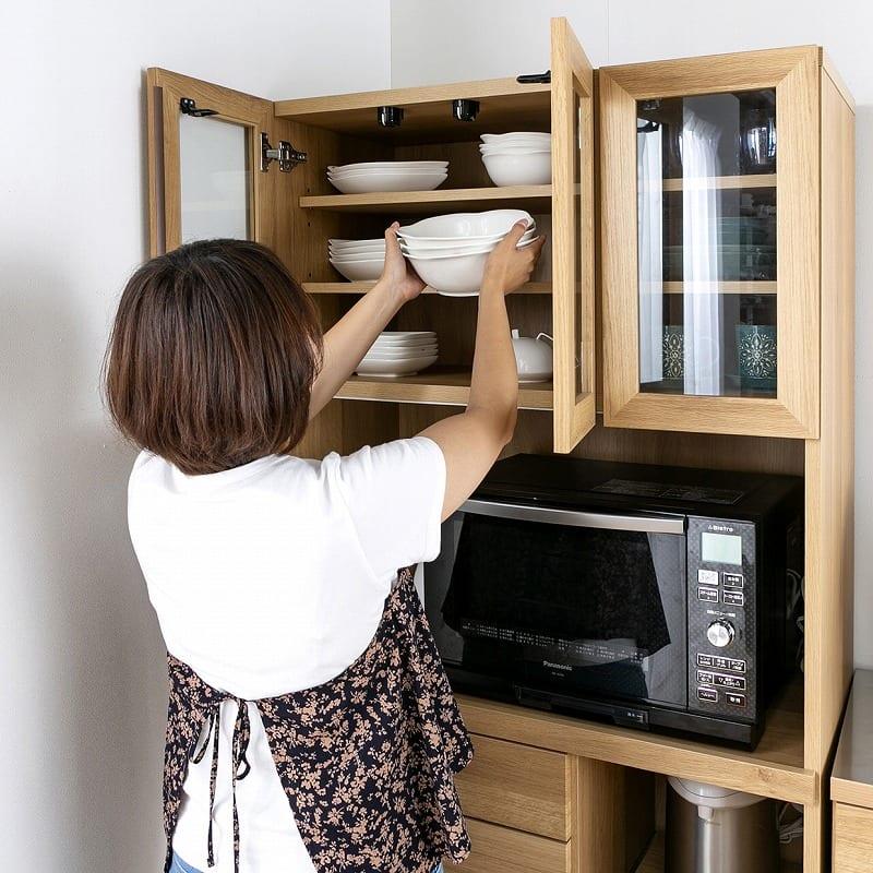 食器棚 紗々 60-OP(WN):食器を取り出しやすい高さ設計