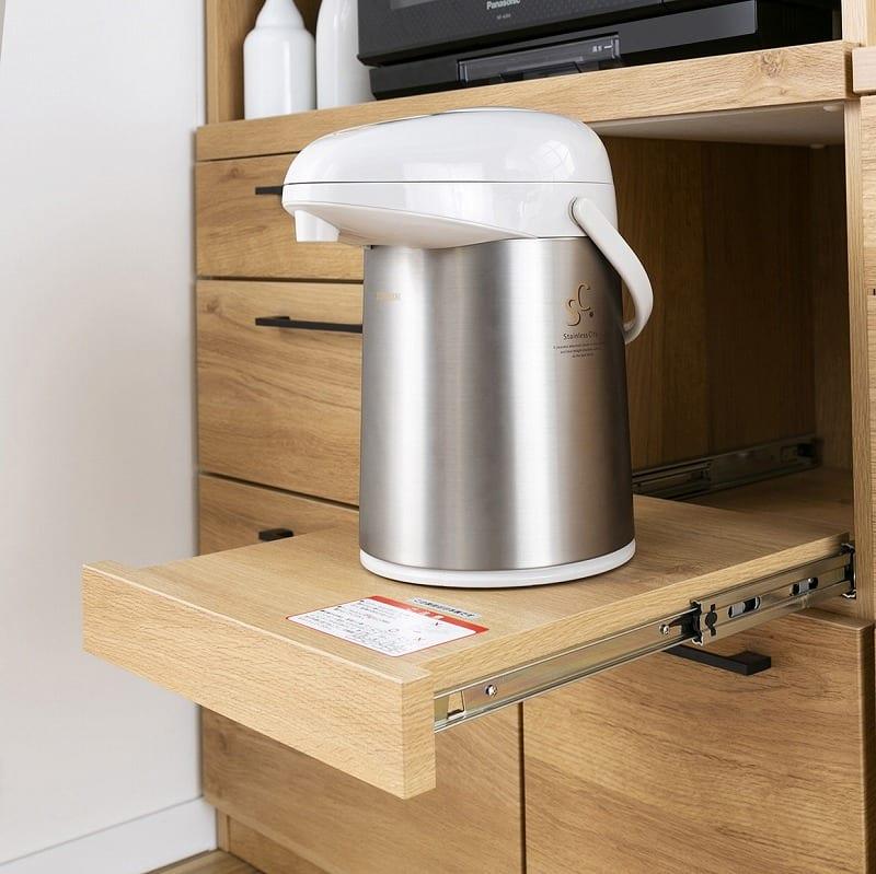 :炊飯器やポットを置くのに便利なスライド棚