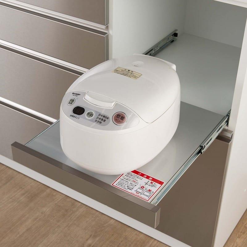 ダイニングボード シードル S140Hオープン WHDCホワイト:家電収納部のコンセント