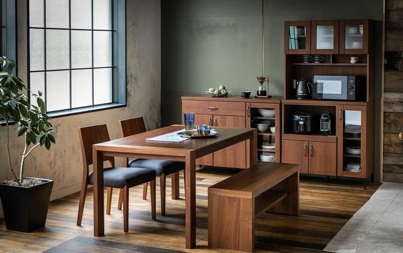 ダイニングボード C/Wウォールライフ 90KB WN:温かみある木調デザイン食器棚