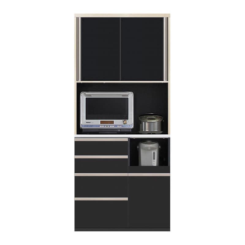食器棚 Nサイゼスト 90 (ブラック):欲しいサイズがきっと見つかる 小物類はイメージです。