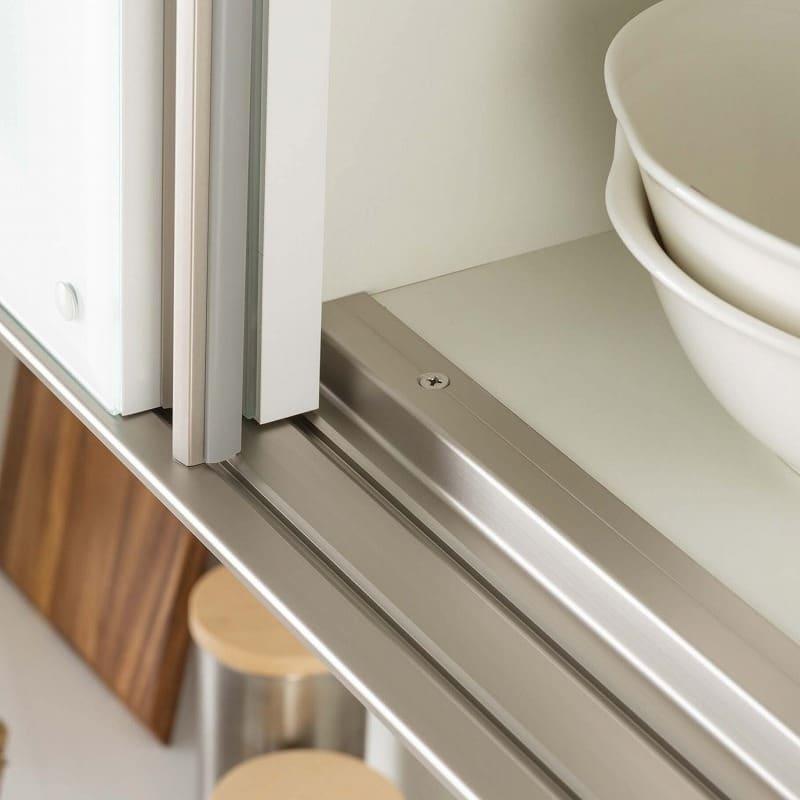 食器棚 Nサイゼスト 90 (ホワイト):高い耐久性を誇るアルミレール