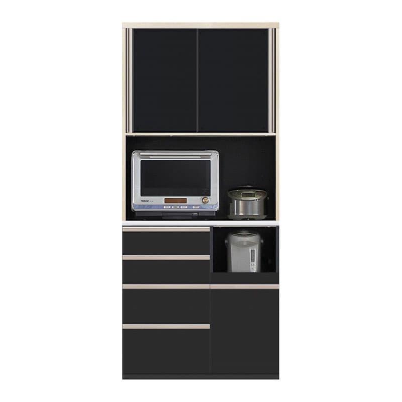 食器棚 Nサイゼスト 95 (ブラック):欲しいサイズがきっと見つかる 小物類はイメージです。
