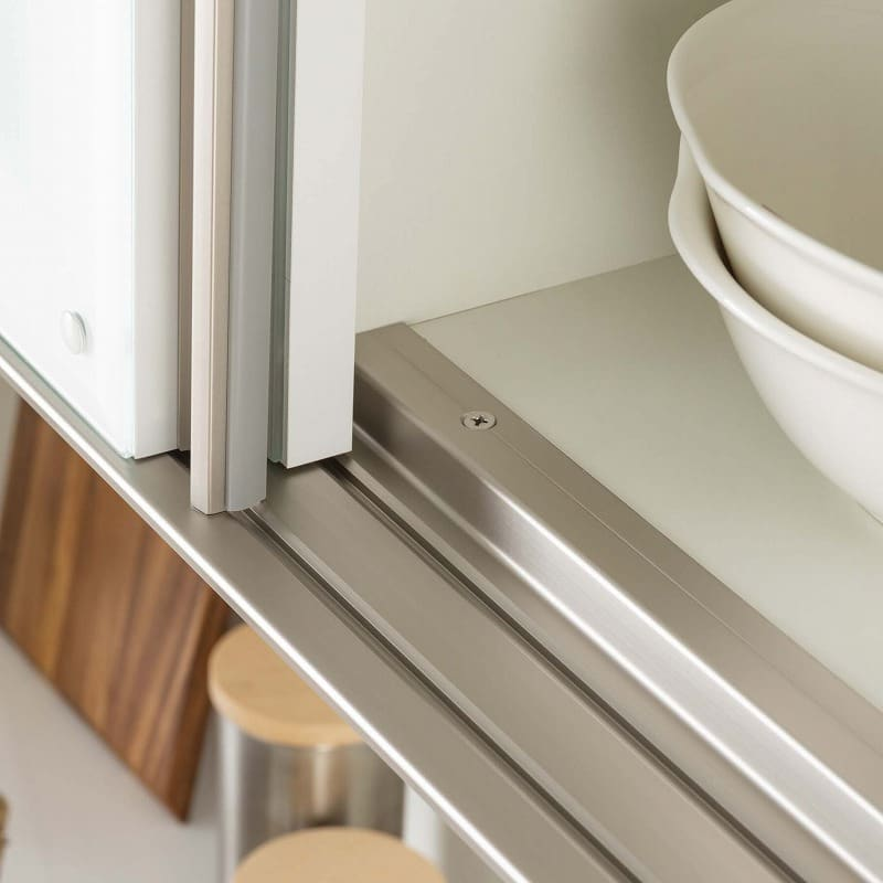 食器棚 Nサイゼスト 120 (ホワイト):高い耐久性を誇るアルミレール