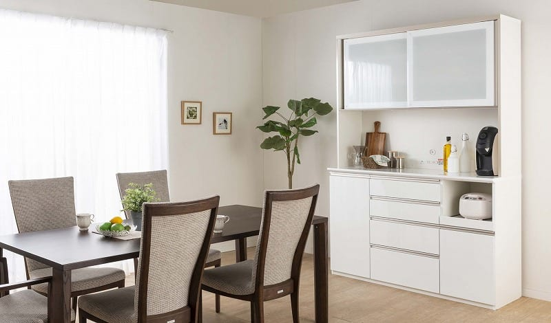 食器棚 Nサイゼスト 130 (ホワイト):欲しいサイズがきっと見つかる