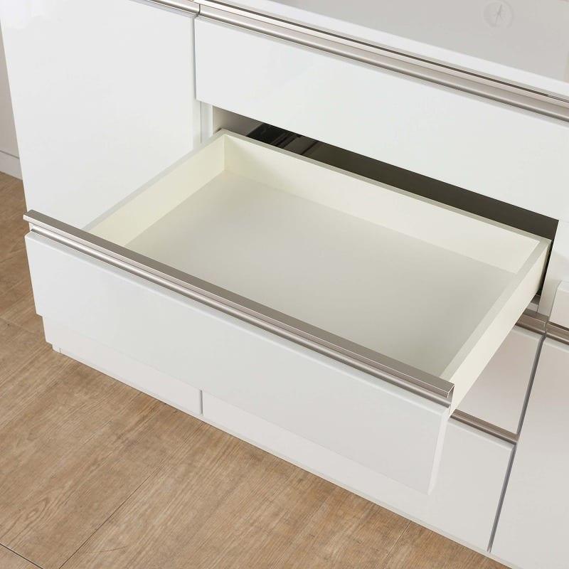 食器棚 Nサイゼスト 140 (ホワイト):出し入れ簡単なフルスライドレール仕様
