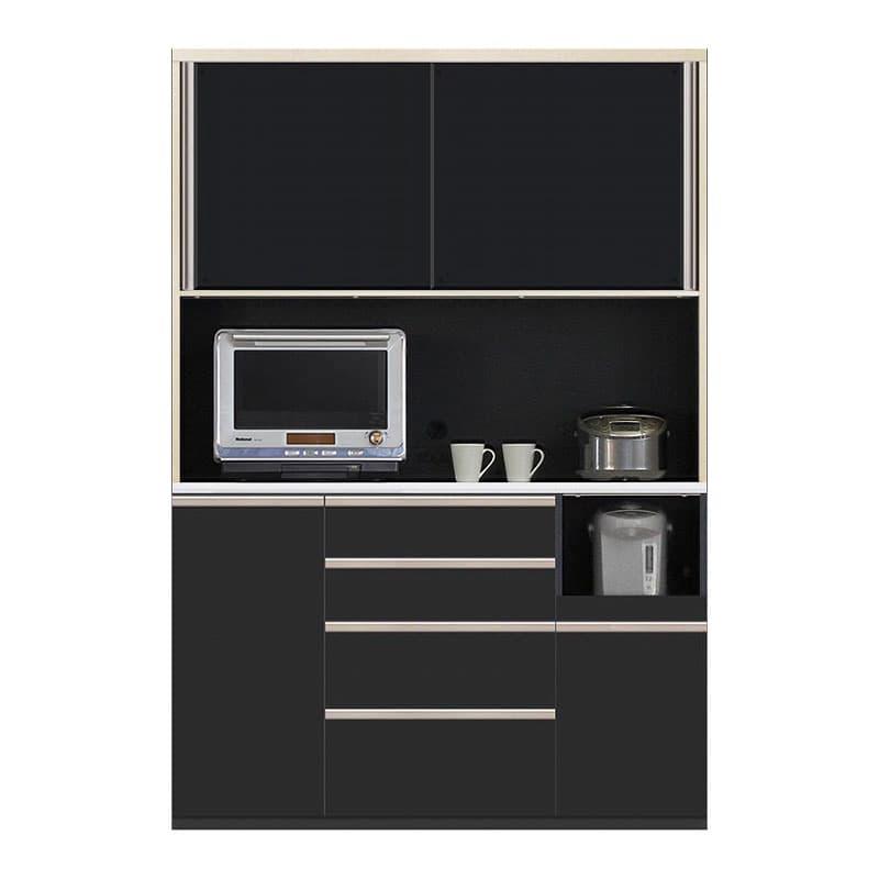 食器棚 Nサイゼスト 145 (ブラック):欲しいサイズがきっと見つかる 小物類はイメージです。