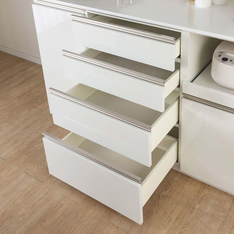 食器棚 Nサイゼスト 145 (ホワイト):整理しやすい引出し4段タイプ