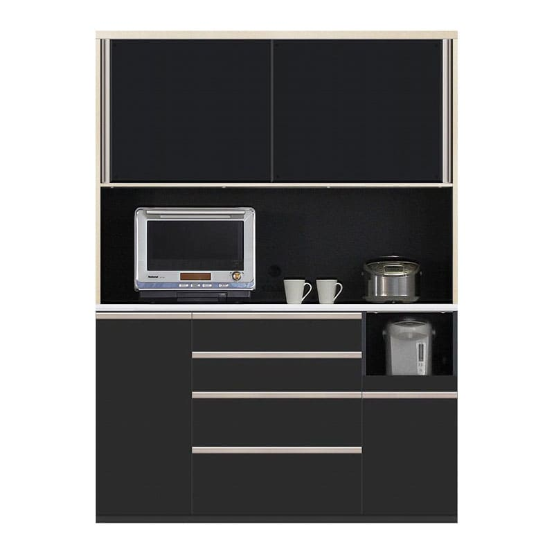 食器棚 Nサイゼスト 150 (ブラック):欲しいサイズがきっと見つかる 小物類はイメージです。