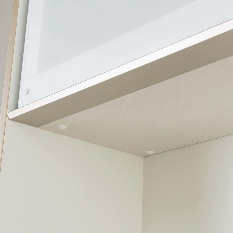 食器棚 Nサイゼスト 150 (ホワイト):カウンターと家電収納部天面にはモイスを標準装備