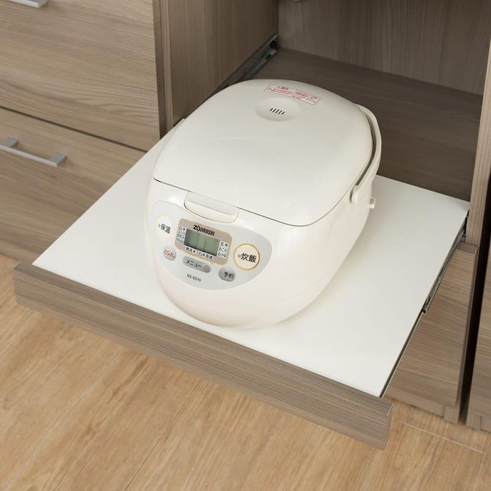 ダイニングボード ペレットΣ 100OP WH木目:家電収納はスライドします