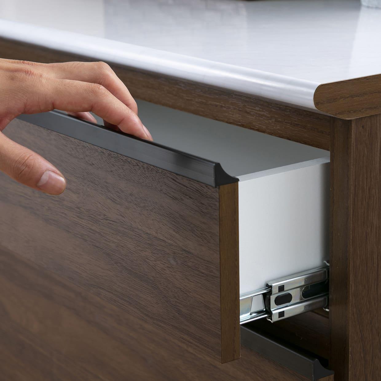 カウンター プレッソ120(GY木目):指をかけて引き出しやすい