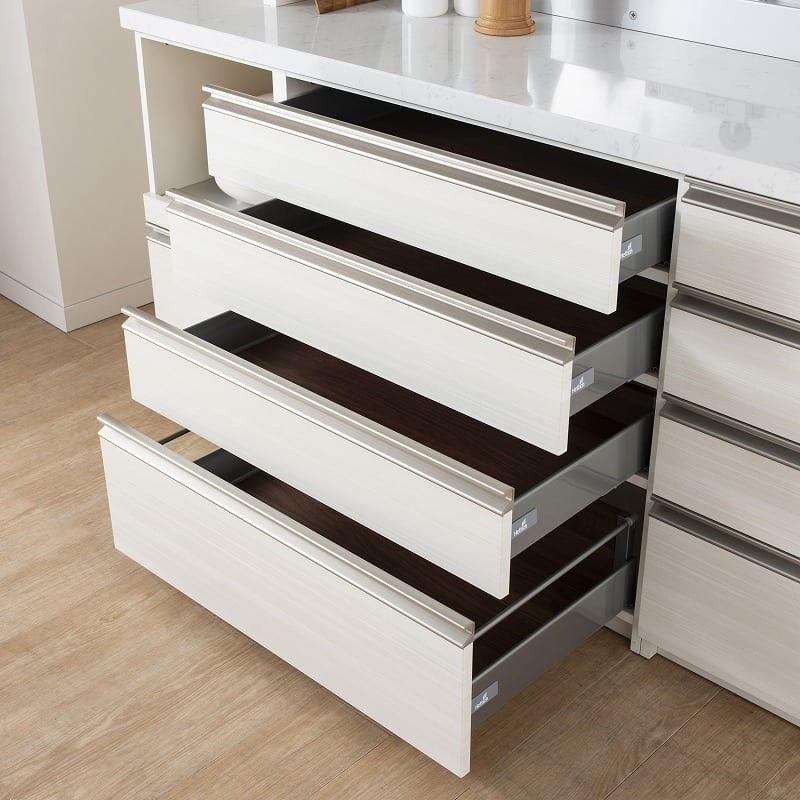 パモウナ 食器棚 スプリーム6点セット:下台収納は3段引きと4段引きから選べます。