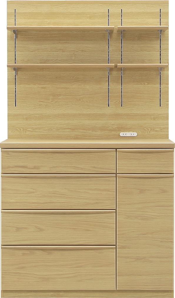 ダイニングボード タクト 100−PH:おしゃれですっきりとしたキッチン空間を演出できる、見せる収納が特徴
