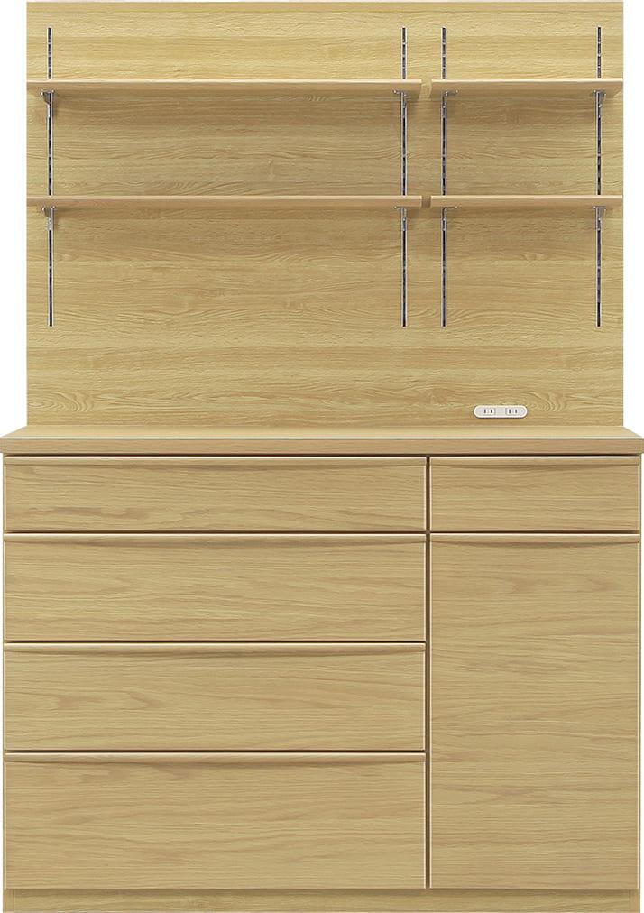 ダイニングボード タクト 120−PH:おしゃれですっきりとしたキッチン空間を演出できる、見せる収納が特徴
