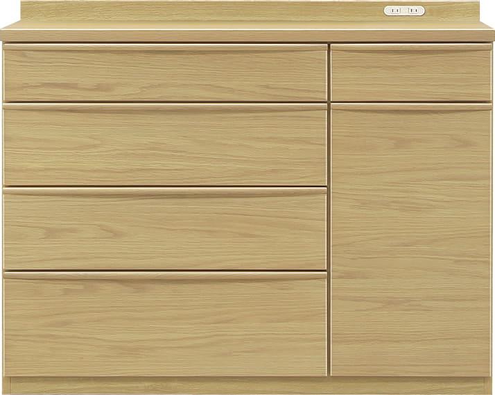 ハイカウンター タクト 120−CH:おしゃれですっきりとしたキッチン空間を演出できる、見せる収納が特徴