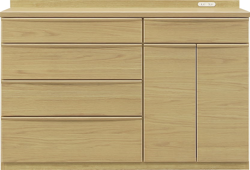 ハイカウンター タクト 140−CH:おしゃれですっきりとしたキッチン空間を演出できる、見せる収納が特徴