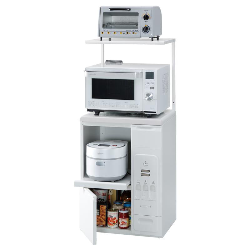 レンジ台ファインキッチンKLS−06W(ホワイト):コンパクトにキッチン家電を収納できるレンジ台※小物類はイメージです