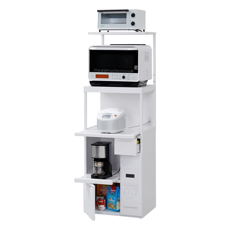 レンジ台ファインキッチンSKU−306W(ホワイト):コンパクトにキッチン家電を収納できるレンジ台※小物類はイメージです