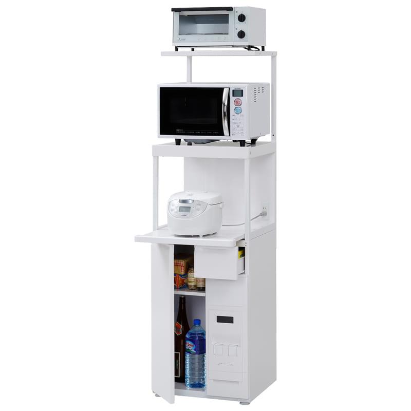 レンジ台ファインキッチンSKU−311W(ホワイト):コンパクトにキッチン家電を収納できるレンジ台※小物類はイメージです