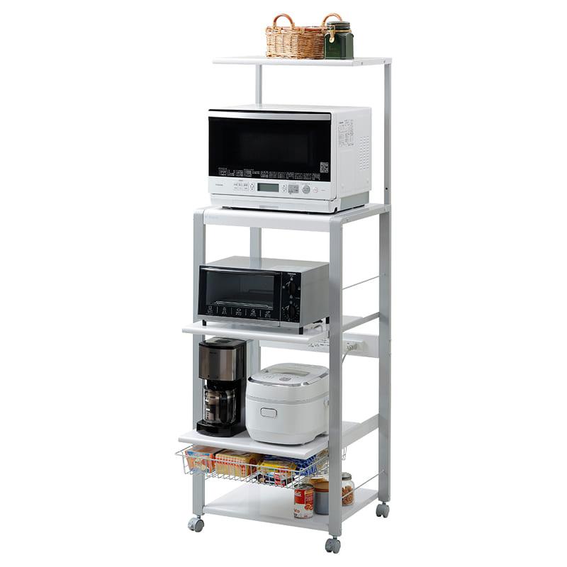 レンジ台 オープンラックフローリエ ORH−202W(ホワイト):家電・小物類はイメージです